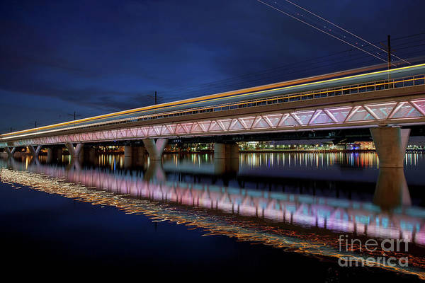 Photograph - Streaking Over The Tempe Town Lake Bridge by Sam Antonio Photography