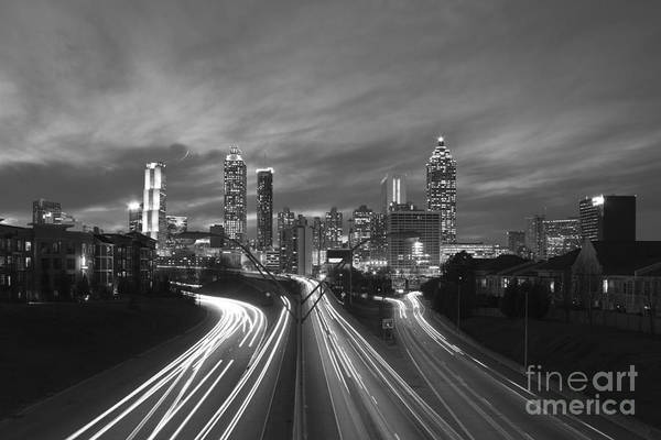 Georgia Power Company Photograph - Streaking To And From Atlanta Night Lights Sunset 2 by Reid Callaway