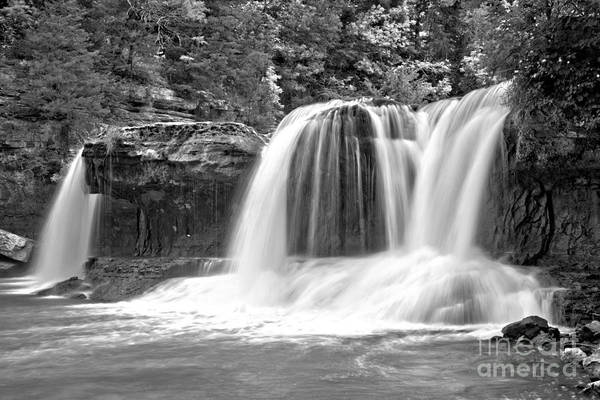 Photograph - Streams Of Cataract Falls Black And White by Adam Jewell