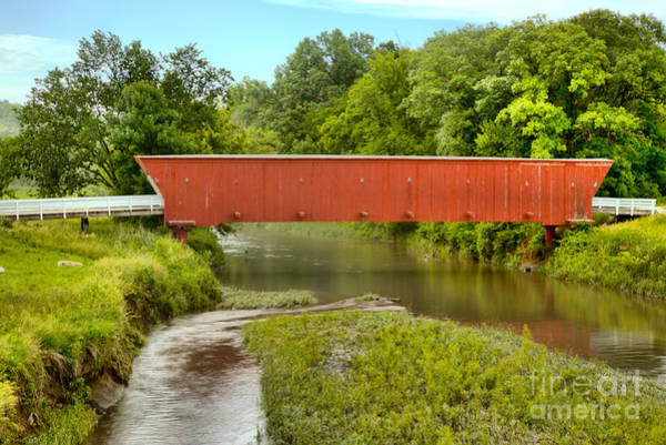Photograph - Streams Under The Hogback Covered Bridge by Adam Jewell