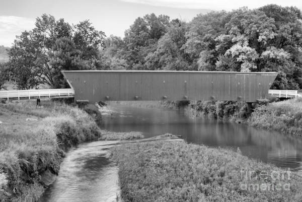 Photograph - Streams Under The Hogback Covered Bridge Black And White by Adam Jewell