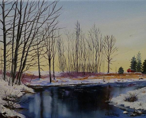 Painting - Streamside In Winter by Judy Bradley
