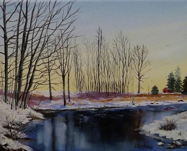 Painting - Streamside In Winter by Judy Bradley