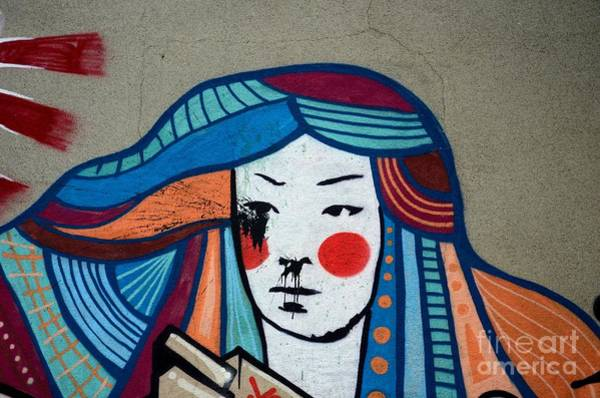 Photograph - Street Art Graffiti Of Japanese Lady With Colorful Hair Belgrade Serbia by Imran Ahmed