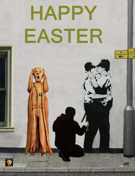 Mixed Media - Street Art Scream Police by Eric Kempson