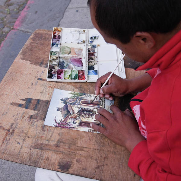 Photograph - Street Artist In Antigua, Guatemala by Tatiana Travelways