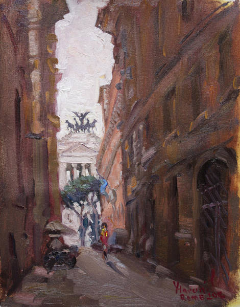 Rome Painting - Street At Piazza Venezia Rome by Ylli Haruni