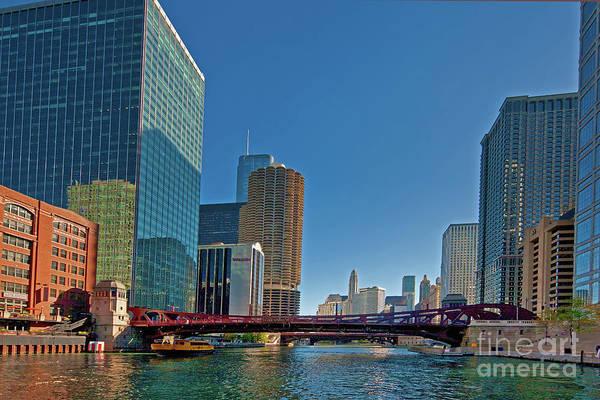 Photograph -  Clark Street Bridge Beautiful Buildings Chicago  by Tom Jelen