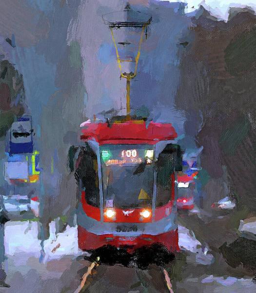 City Scape Digital Art - Street Car At Impression by Yury Malkov
