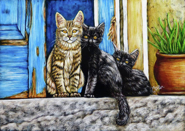 Drawing - Street Cats by Monique Morin Matson