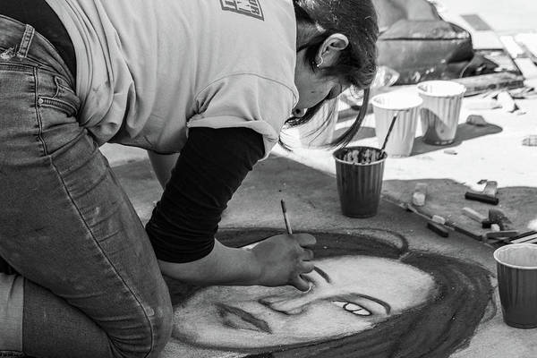 Photograph - Street Chalk Artist by SR Green