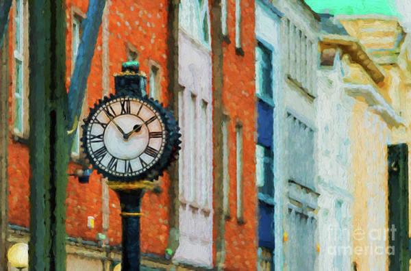 Digital Art - Street Clock In Cork by Les Palenik
