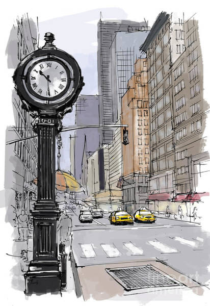 Pastel Drawing Painting - Street Clock On 5th Avenue Handmade Sketch by Drawspots Illustrations