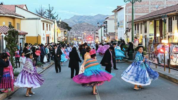 Photograph - Street Dancers, Cuzco 2013 by Chris Honeyman