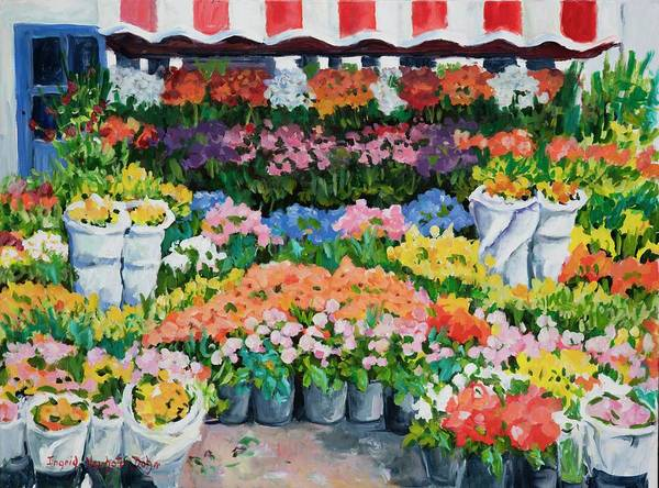 Painting - Street Flower Stand by Ingrid Dohm
