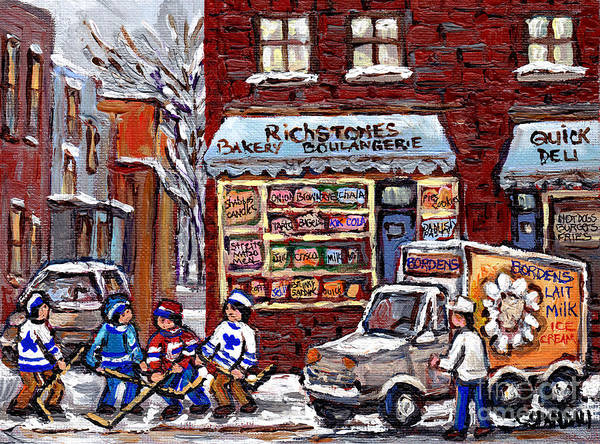 Boys Playing Hockey Painting - Street Hockey And Borden's Milk Man At Richstone Bakery And Quick Deli Montreal Memories Painting   by Carole Spandau
