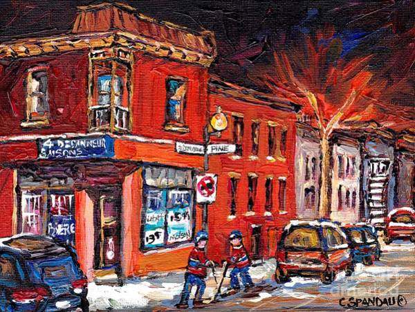Boys Playing Hockey Painting - Street Hockey Night Scene Painting 4 Saisons Depanneur Rue St Dominique And Pine Montreal Scene Art by Carole Spandau