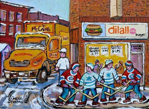 Delivery Truck Painting - Street Hockey St Henri Dilallo Burger And Mccain's Truck Canadian Art Carole Spandau                by Carole Spandau