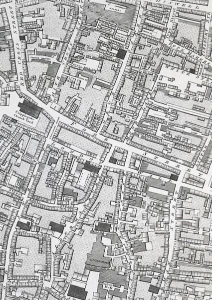 Street Map Of London Around Guildhall Art Print