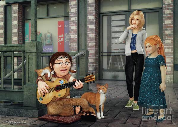 Digital Art - Street Music by Jutta Maria Pusl