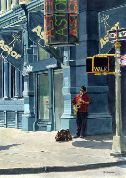 Wall Art - Painting - Street Musician by Tom Hedderich