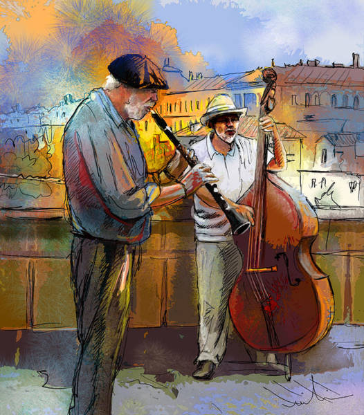 Painting - Street Musicians In Prague In The Czech Republic 01 by Miki De Goodaboom