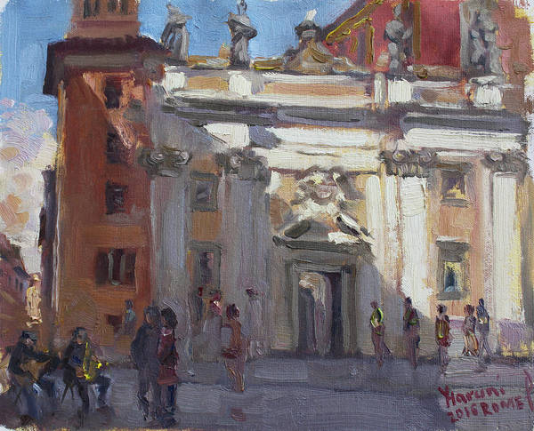 Rome Painting - Street Musicians Pzza San Silvestri Rome by Ylli Haruni