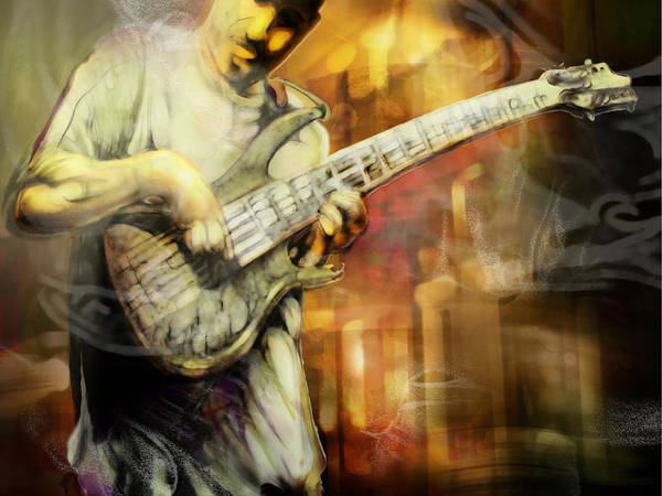 Bass Guitar Painting - Street Performer by Mike Massengale