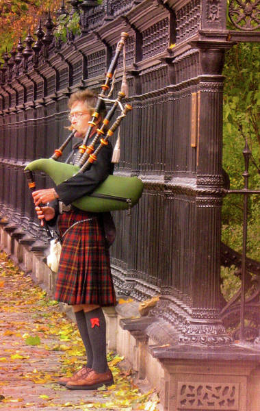 Street Performer Playing The Bagpipes Art Print