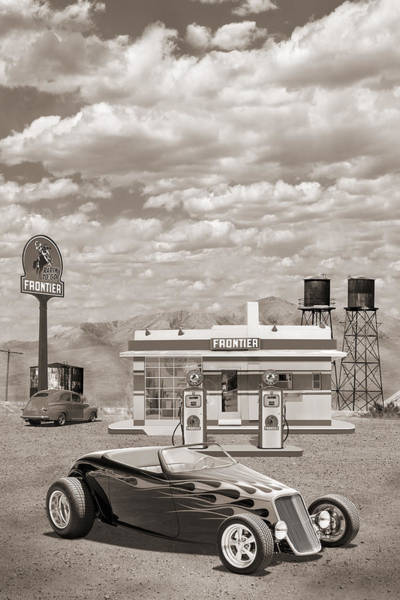 Wall Art - Photograph - Street Rod At Frontier Station Sepia by Mike McGlothlen