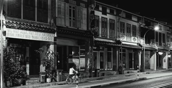 Photograph - Street Scene At Night, Singapore 2014 by Chris Honeyman