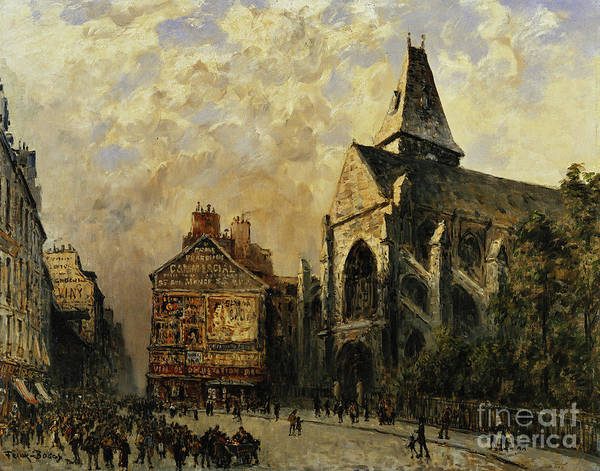 Imposing Wall Art - Painting - Street Scene Behind The Saint Medard Church, Paris by Frank Myers Boggs