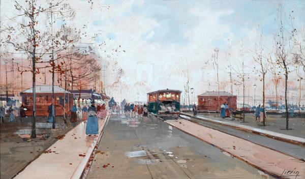 Walkers Painting - Street Scene by Eugene Galien-Laloue