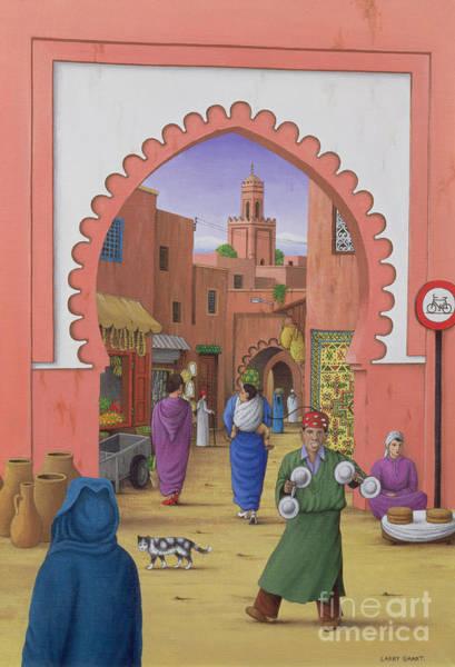 Wall Art - Painting - Street Scene In Marrakesh by Larry Smart