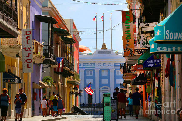 Photograph - Street Scene In Old San Juan Looking Towards The Governor's Mansion by Steven Spak