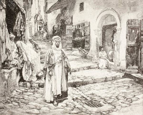 Wall Art - Drawing - Street Scene In The Kasbah In Algiers by Vintage Design Pics