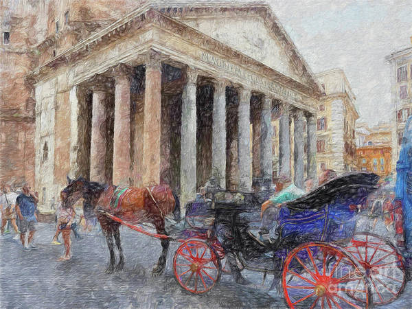 Digital Art - Street Scene Pantheon Rome by Leigh Kemp