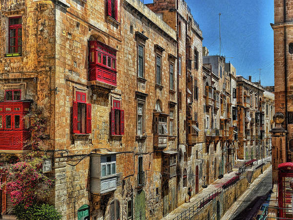 Digital Art - Street Scene Valletta Malta by Leigh Kemp