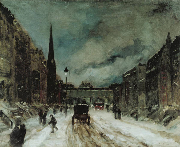 Photograph - Street Scene With Snow New York City by Robert Henri
