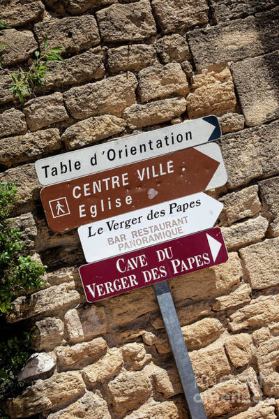 Chateauneuf Photograph - Street Signs by Timothy Johnson