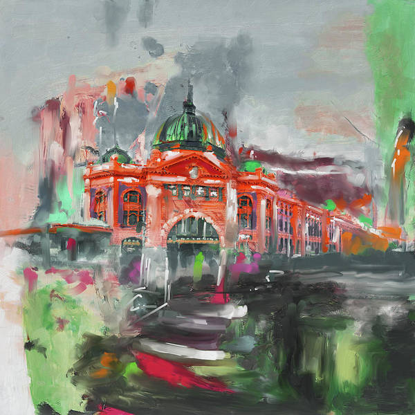 Wall Art - Painting - Flinders Street Station 464 2 by Mawra Tahreem