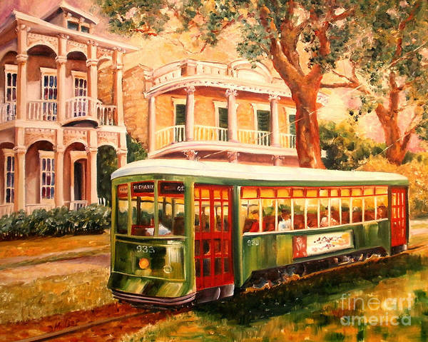 Mansion Wall Art - Painting - Streetcar In The Garden District by Diane Millsap