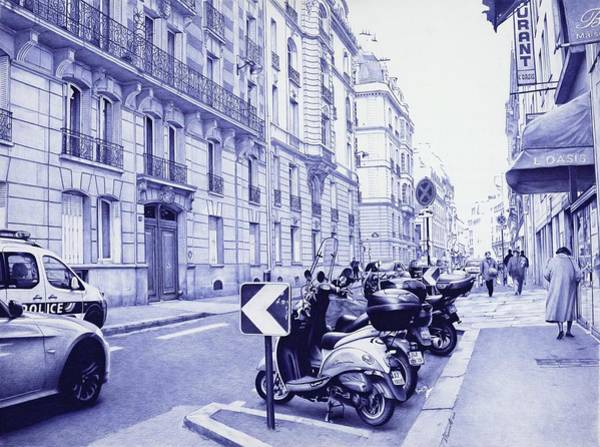 Wet Drawing - Streets Of Paris - Ballpoint Pen Art by Andrey Poletaev