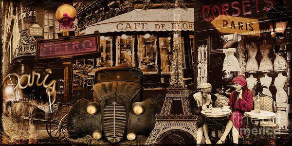 Retro Paris Painting - Streets Of Paris by Mindy Sommers