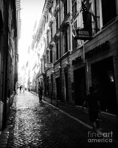 Photograph - Streets Of Rome 2 Black And White by Angela Rath