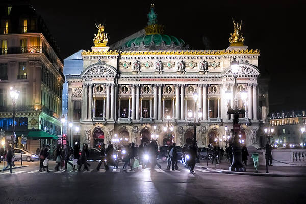 Photograph - Streets Of The Opera De Paris At Night by Mark E Tisdale