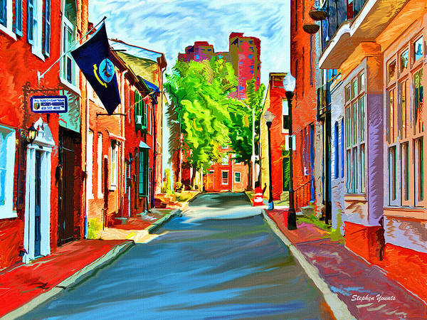 City Cafe Wall Art - Digital Art - Streetscape In Federal Hill by Stephen Younts
