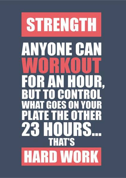 Fitness Digital Art - Strength Anyone Can Workout For An Hour Gym Motivational Quotes Poster by Lab No 4