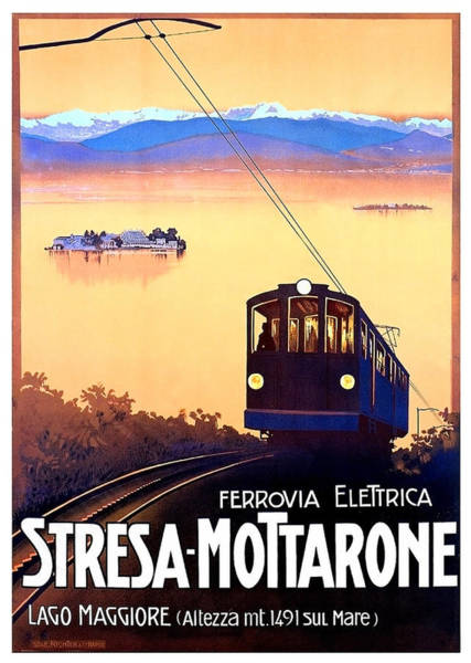 Wall Art - Painting - Stresa - Mottarone, Cable Car, Italy by Long Shot