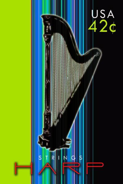 Harp Digital Art - Strings Stamps-harp by Ashley Cameron